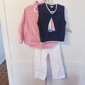 Janie and Jack outfit 2t sweater vest pants shirt